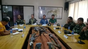 Seized weapons from a drug gang in Mindanao presented by the Philippine Army. (Mindanao Examiner Photo - Rhoderick Beñez)