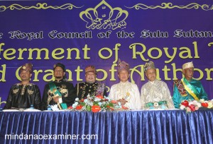 Western Mindanao Grand Mufti, His Eminence Abdulbaqi Abubakar, crowns former Sulu Governor Dr Sakur Tan as Datu' ShahBandar following his designation as Special Envoy and conferment as Datu ShahBandar by the Royal Council of the Sulu Sultanate on November 30, 2016 in Sulu province in southern Philippines. (Mindanao Examiner Photo)