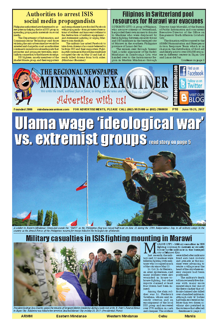 Mindanao Examiner Newspaper June 19-25, 2017