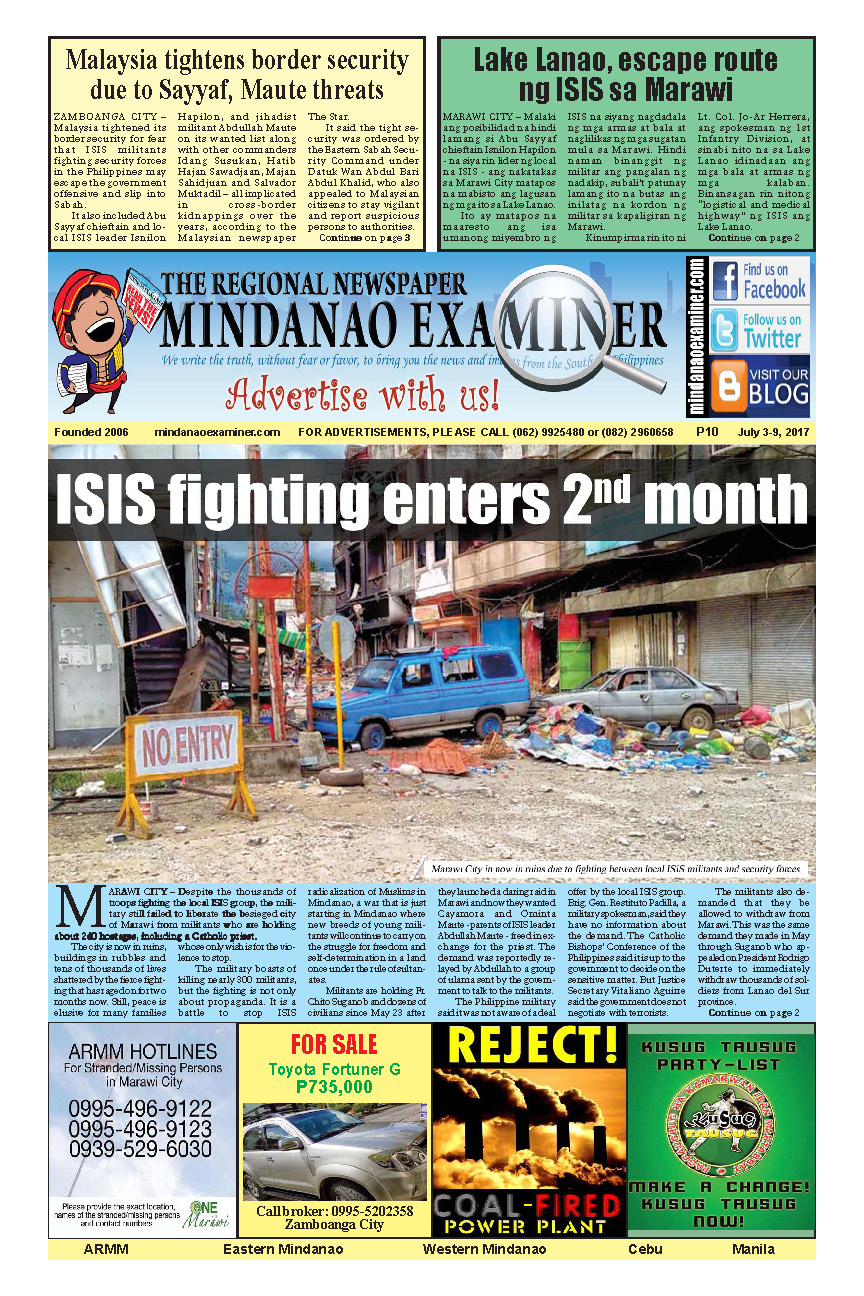Mindanao Examiner Newspaper July 3-9, 2017
