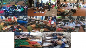 Military photos released to the regional newspaper Mindanao Examiner show the bodies of slain rebels and weapons recovered by troops in Mati City in southern Philippines.