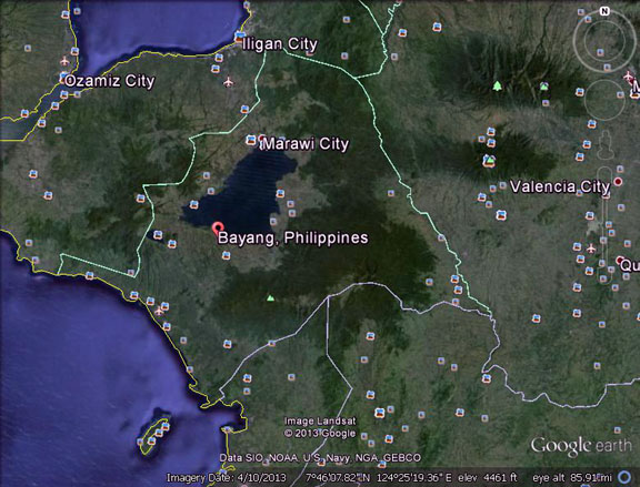12 killed and wounded in clan war in lanao sur mindanao examiner google earth map of bayang town in lanao del sur province in southern philippines mindanao examiner gumiabroncs Image collections