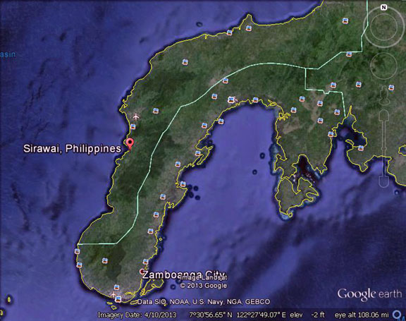 Coca cola truck attacked in philippines 2 dead mindanao examiner google earth map of sirawai town in zamboanga del norte province in southern philippines mindanao examiner gumiabroncs Image collections
